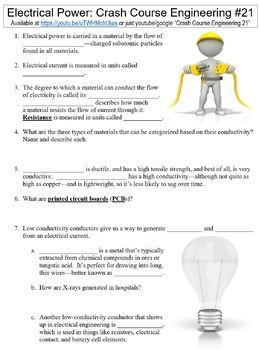 Crash Course Engineering #21 (Electrical Power) worksheet