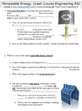 Crash Course Engineering #30 (Renewable Energy) worksheet