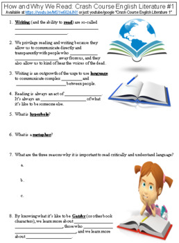 Crash Course English Literature #1 (How and Why We Read) worksheet