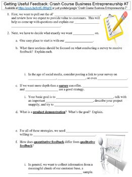 Crash Course Entrepreneurship #7 (Getting Useful Feedback) worksheet