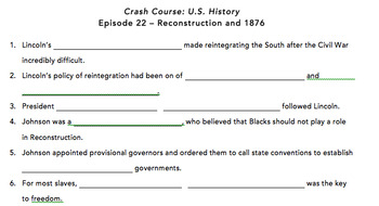 Crash Course Episode #22 - Reconstruction and 1876 Viewing Guide + Answer Key