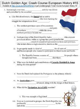 Crash Course European History #15 (Dutch Golden Age) worksheet