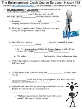 Crash Course European History #18 (The Enlightenment) worksheet