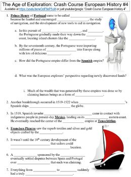 Crash Course European History #4 (The Age of Exploration) worksheet