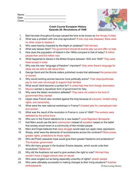 Crash Course European History: Revolutions of 1848 Worksheet