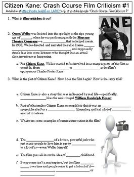 Crash Course Film Criticism 1 Citizen Kane Worksheet By Danis Marandis