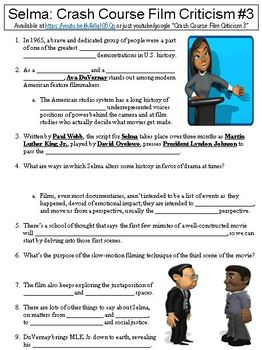 Crash Course Film Criticism 3 Selma Worksheet By Danis Marandis