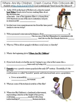 Crash Course Film Criticism 4 Where Are My Children Worksheet