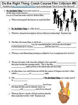 Crash Course Film Criticism 6 Do The Right Thing Worksheet By Danis Marandis