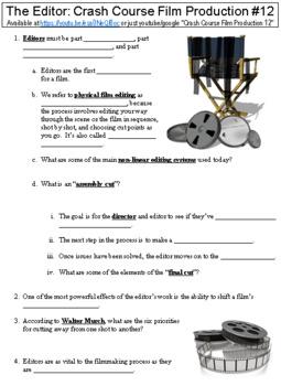 Crash Course Film Production #12 (The Editor) worksheet