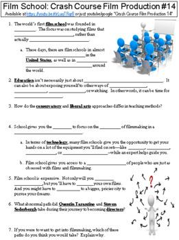 Crash Course Film Production #14 (To Film School/Not to Film School) worksheet