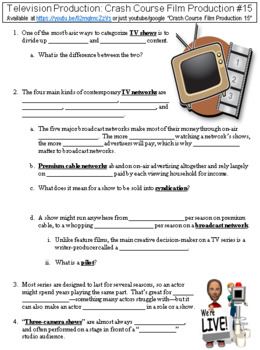 Crash Course Film Production #15 (Television Production) worksheet