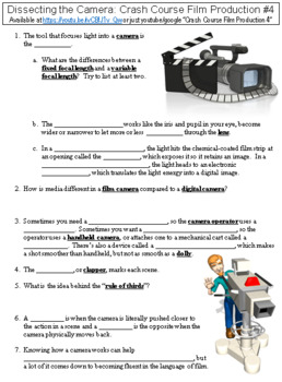Crash Course Film Production #4 (Dissecting the Camera) worksheet