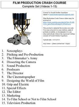 Crash Course Film Production Worksheets Complete Series Set Full Bundle