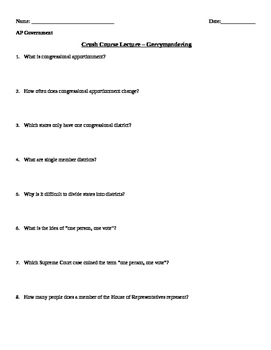 Crash Course - Gerrymandering Questions