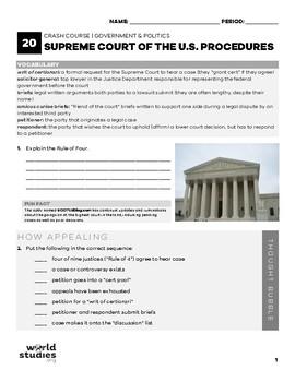 Crash Course Government and Politics 20: Supreme Court of the U.S. Procedures