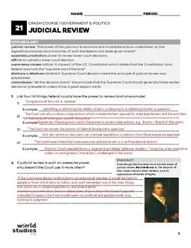Crash Course Government and Politics Video Guide 21: Judicial Review