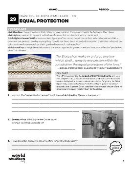 Crash Course Government and Politics Video Guide 29: Equal Protection
