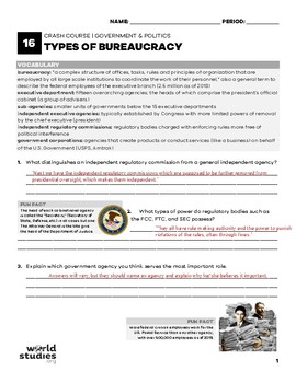 Crash Course Government and Politics Video Guide Ep. 16: Types of Bureaucracies