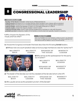 Crash Course  Government and Politics Video Guide Ep. 8:Congressional Leadership