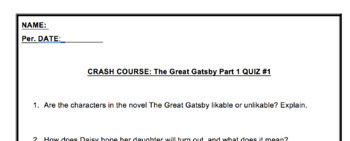 Crash Course Guide: The Great Gatsby Part 1