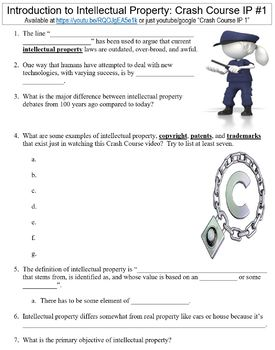 Crash Course Intellectual Property #1 (Intro to Intellectual Property) worksheet