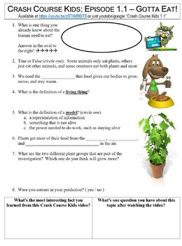 Crash Course Kids #1.1 (Gotta Eat!) worksheet