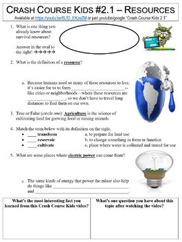 Crash Course Kids #2.1 (Resources: Welcome to the Neighborhood) worksheet