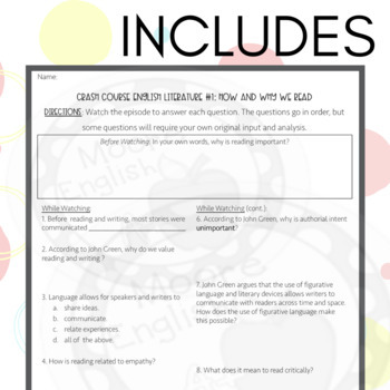 Crash Course Literature: How and Why We Read Listening Guide