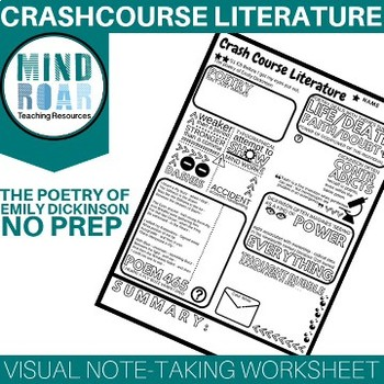 Crash Course Literature S1E8 Poetry of Emily Dickinson Doodle notes worksheet