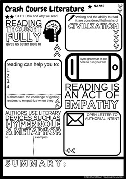 Crash Course Literature S1E1 How and why we read, Doodle-notes style worksheet