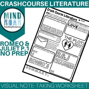 Crash Course Literature S1E2 Romeo and Juliet pt 1 Doodle notes worksheet