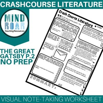 Crash Course Literature S1E5 The great Gatsby pt 2 Doodle notes worksheet