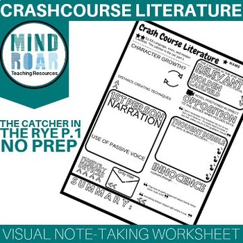 Crash Course Literature S1E6 The catcher in the rye pt 1 Doodle notes worksheet