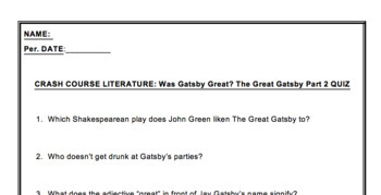 Crash Course Literature Video Guide: Was Gatsby Great? Part 2