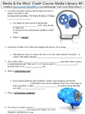 Crash Course Media Literacy #4 (Media & the Mind) worksheet