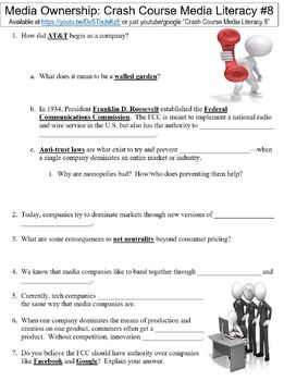 Crash Course Media Literacy #8 (Media Ownership) worksheet