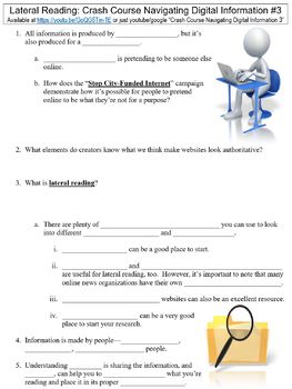 Crash Course Navigating Digital Information #3 (Lateral Reading) worksheet