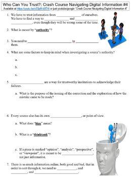 Crash Course Navigating Digital Information #4 (Who Can You Trust?) worksheet