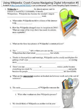 Crash Course Navigating Digital Information #5 (Using Wikipedia) worksheet