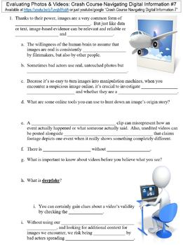Crash Course Navigating Digital Information #7 (Photos & Videos) worksheet