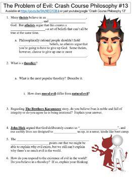 Crash Course Philosophy #13 (The Problem of Evil) worksheet