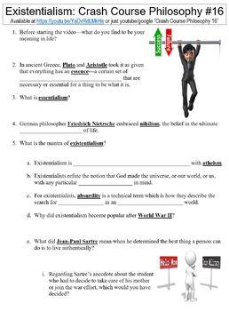 Crash Course Philosophy #16 (Existentialism) worksheet