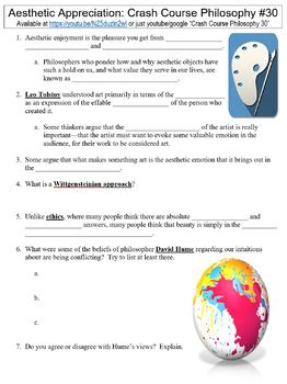 Crash Course Philosophy #30 (Aesthetic Appreciation) worksheet