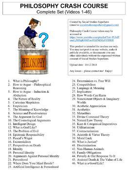 Crash Course Philosophy Worksheets Complete Set (Full Bundle Collection)