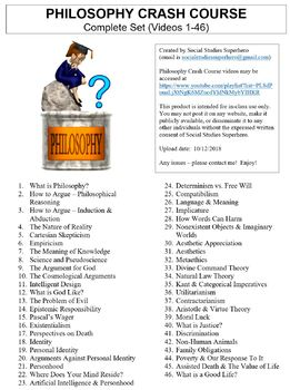 Crash Course Philosophy Worksheets Complete Series Set Full Bundle Collection