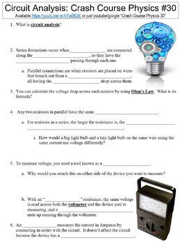 Crash Course Physics #30 (Circuit Analysis) worksheet