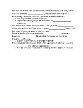 "Crash Course Psych#32:""Schizophrenia & Dissociative Dis.""Fill-in-the-Blank Notes"