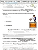Crash Course Psychology #1 (Intro to Psychology) worksheet