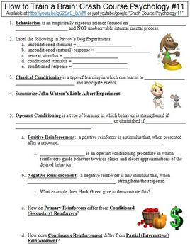 Crash Course Psychology 11 How To Train A Brain Worksheet By